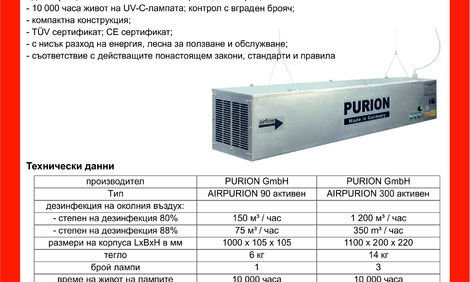 Гермицидни лампи - дезинфекция с UV-C лъчи AIRPURION, Germany